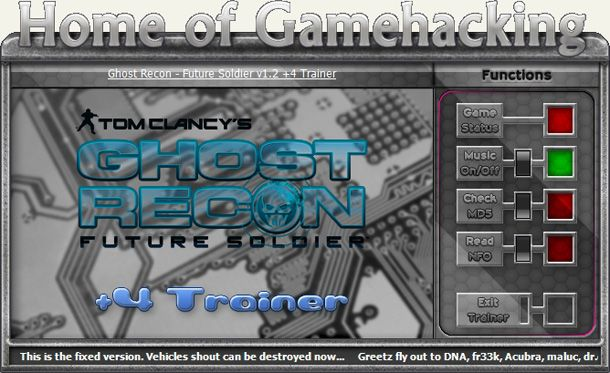 Ghost Recon: Future Soldier 1.8 +4 Trainer for DX9/DX11 [HoG]